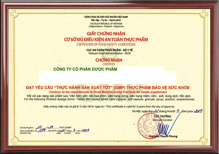 mẫu chứng nhận GMP sản xuất TPCN